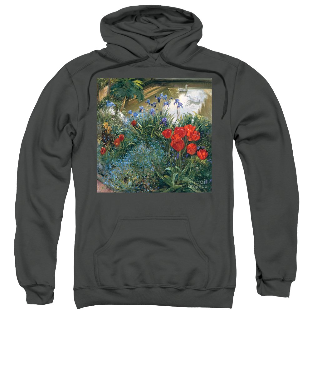 Tulip; Flower; Iris; Pond; Goose; Garden; Irises Sweatshirt featuring the painting Red Tulips And Geese by Timothy Easton