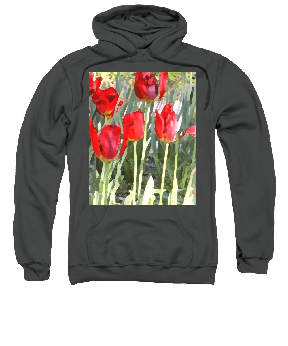 Red Tulips Sweatshirt featuring the photograph Red Tulips by Jeanne A Martin