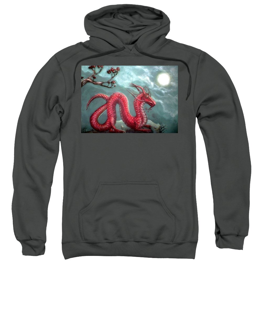 Sweatshirt featuring the painting Red Water Dragon And Tree by Couture Yan-D