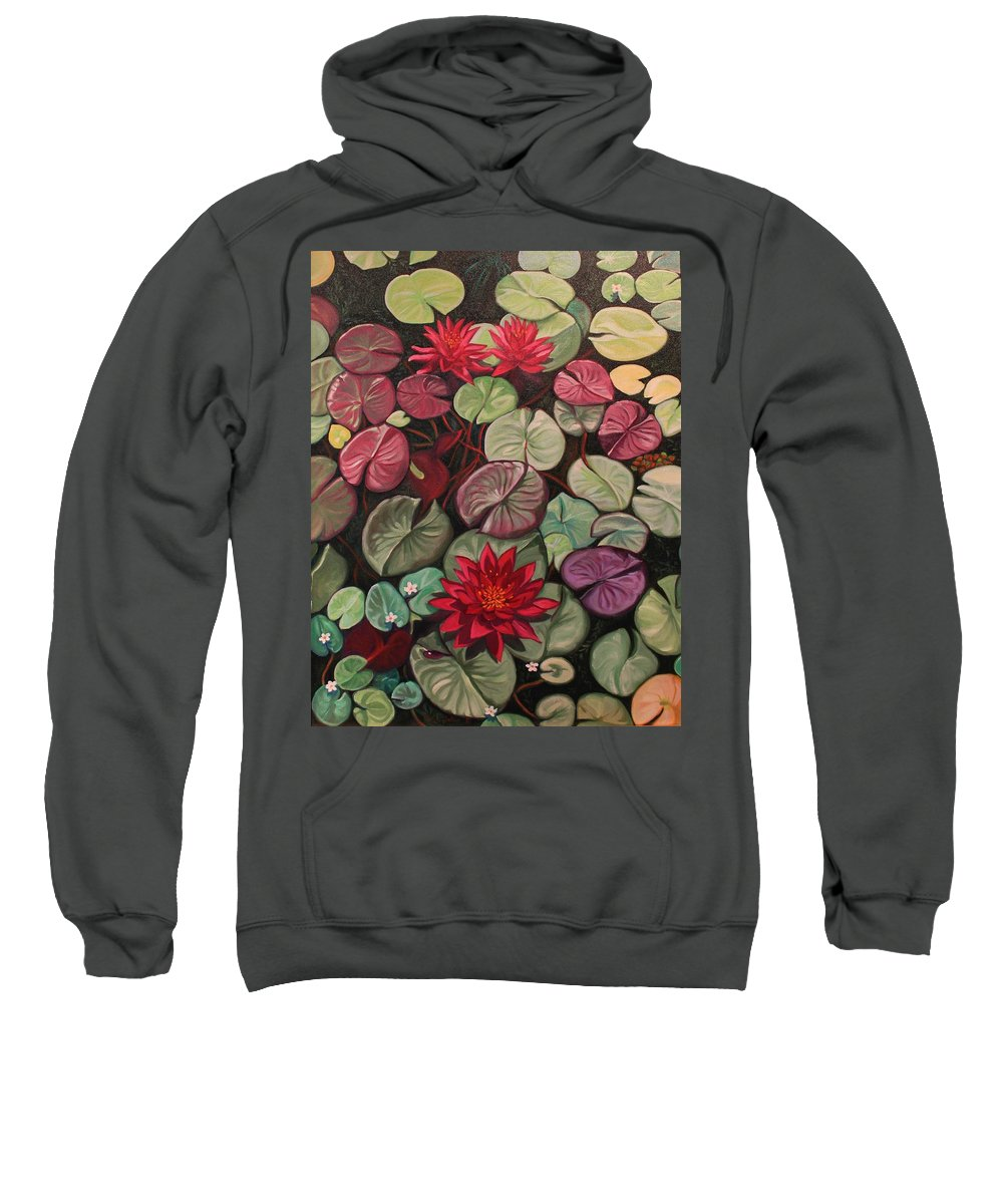Ruth Soller Sweatshirt featuring the painting Red Water Lilies by Ruth Soller
