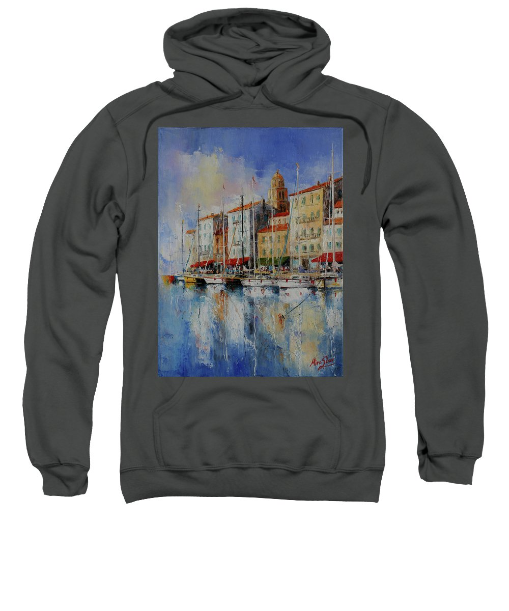 Seascapes Sweatshirt featuring the painting Reflection - St.tropez - France by Miroslav Stojkovic