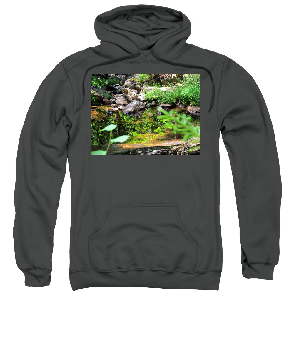 Reflections Sweatshirt featuring the photograph Reflections In The Stream by Elizabeth Dow