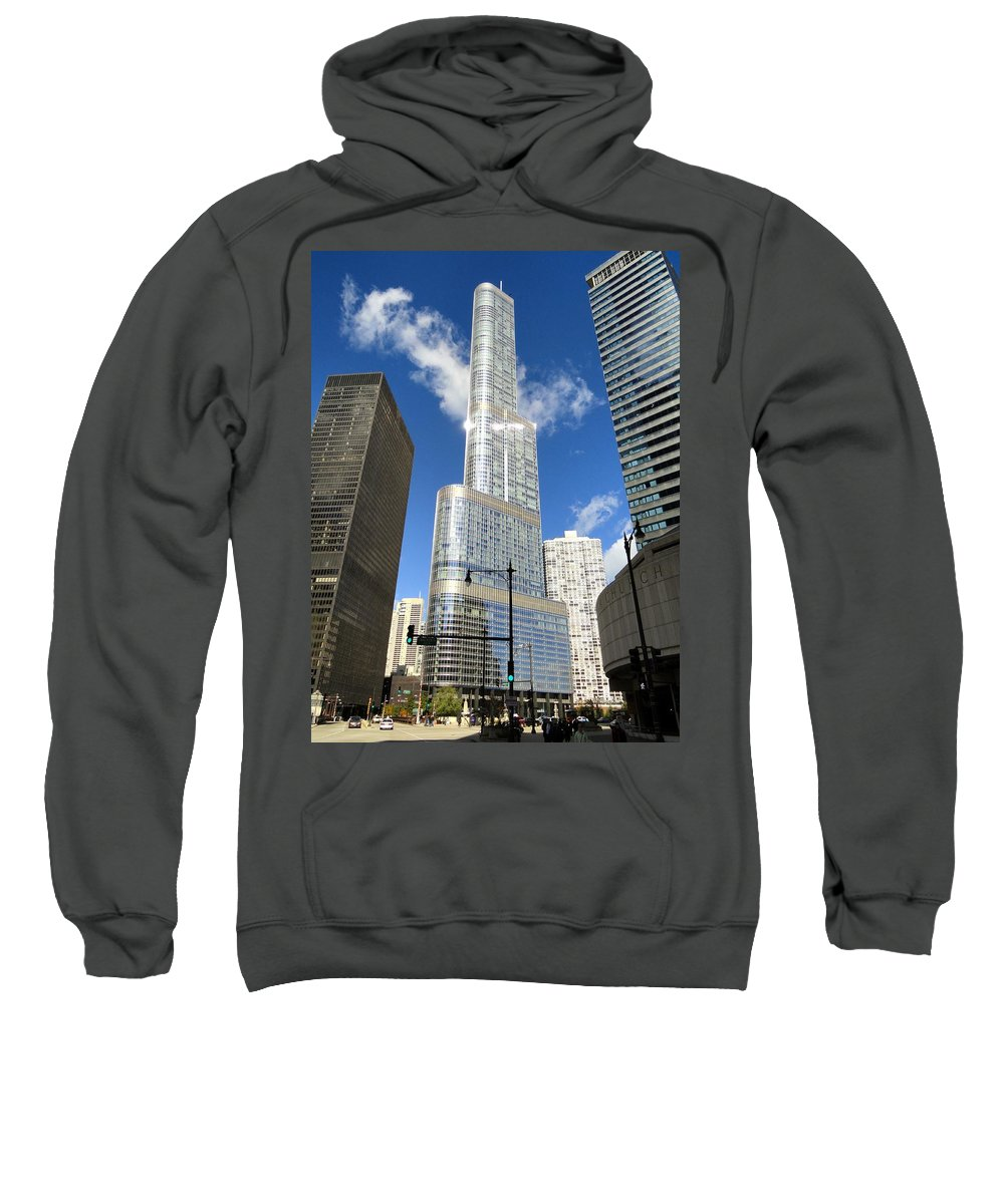 Chicago Sweatshirt featuring the photograph Reflections Of Chicago by Mountain Dreams