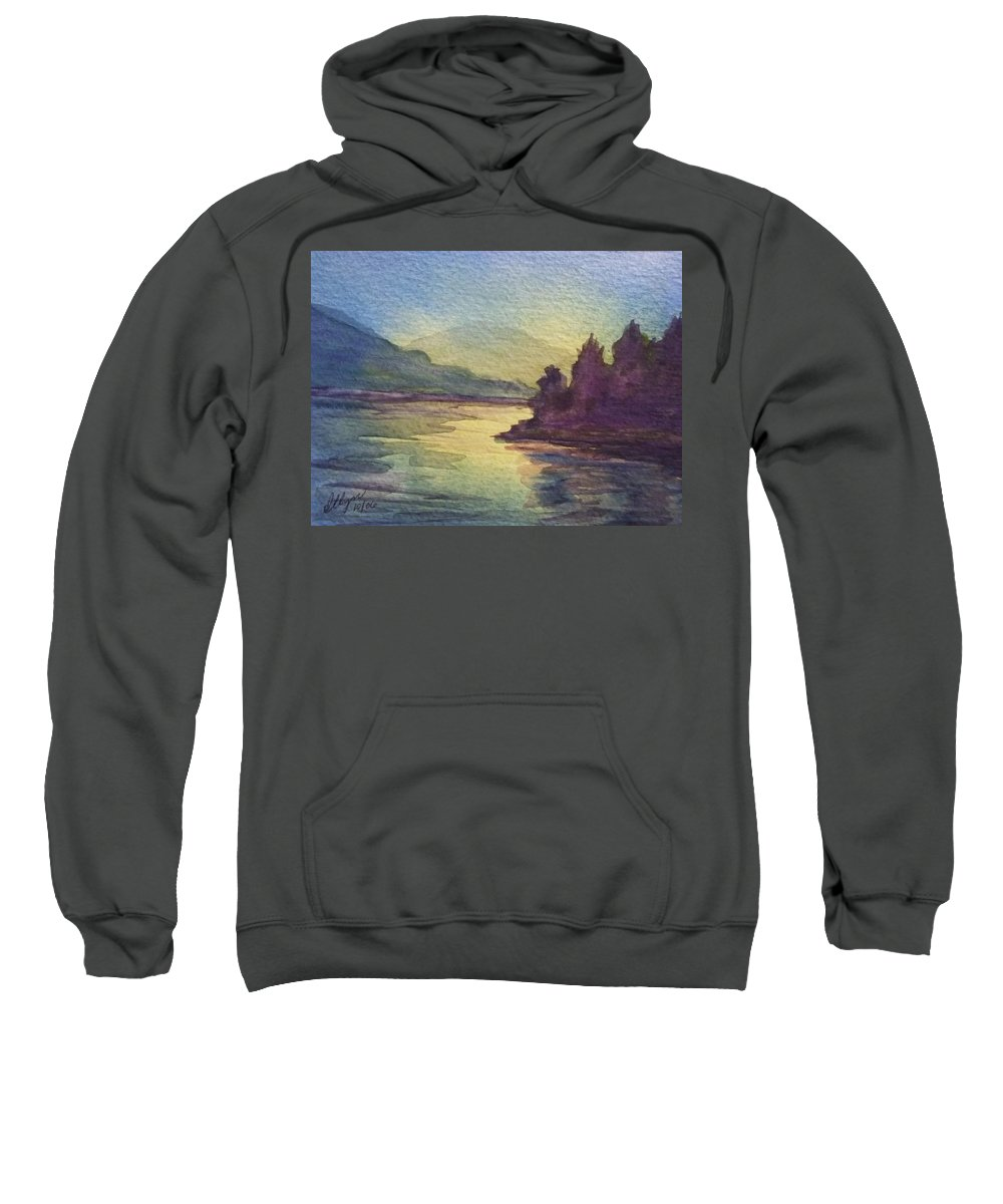 North South Lake Sweatshirt featuring the painting Reflections On North South Lake by Ellen Levinson