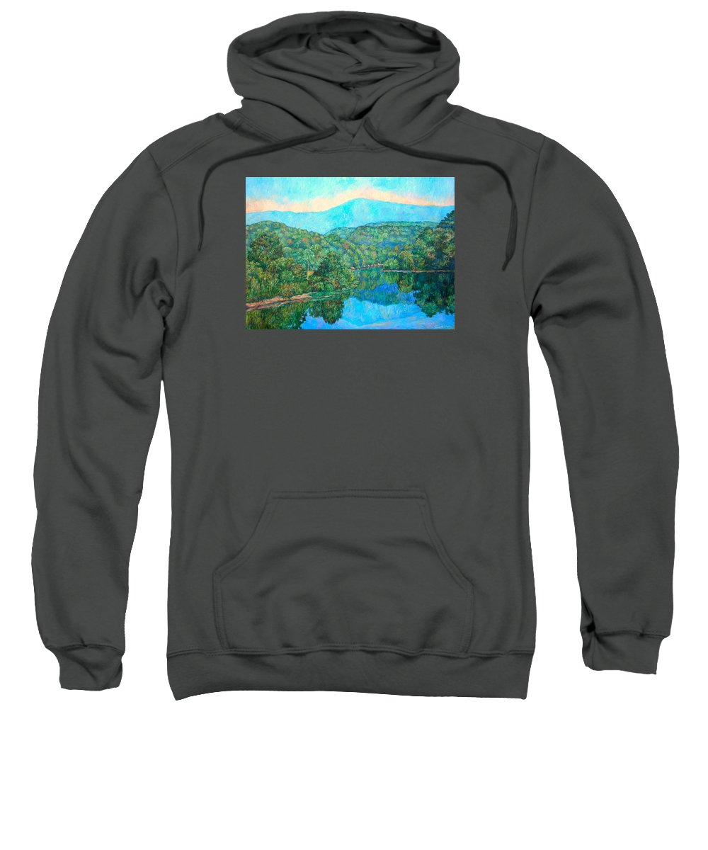 Mountainscape Sweatshirt featuring the painting Reflections On The James River by Kendall Kessler
