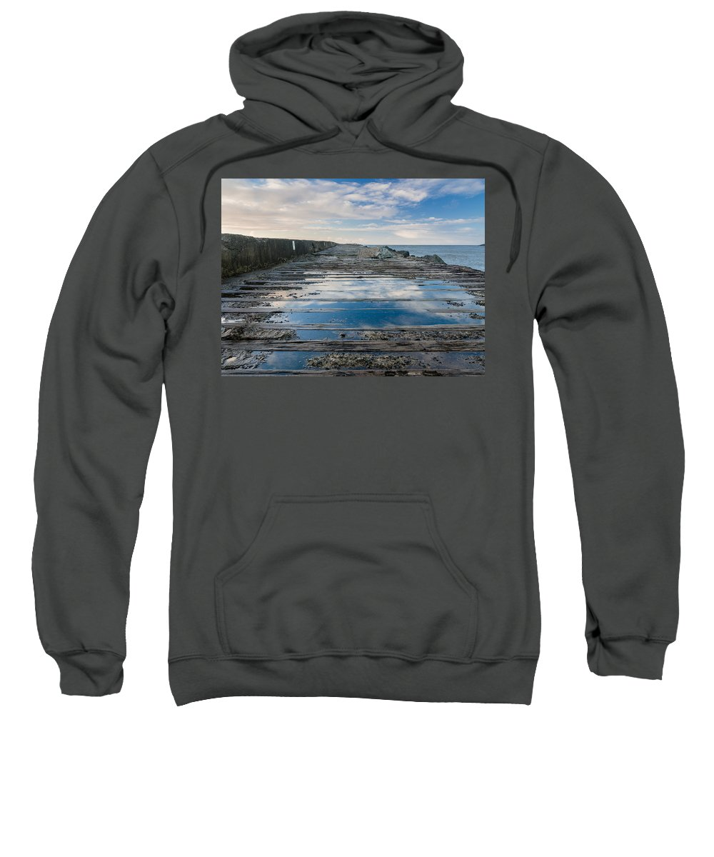 Humboldt Bay Sweatshirt featuring the photograph Reflections On The South Spit by Greg Nyquist