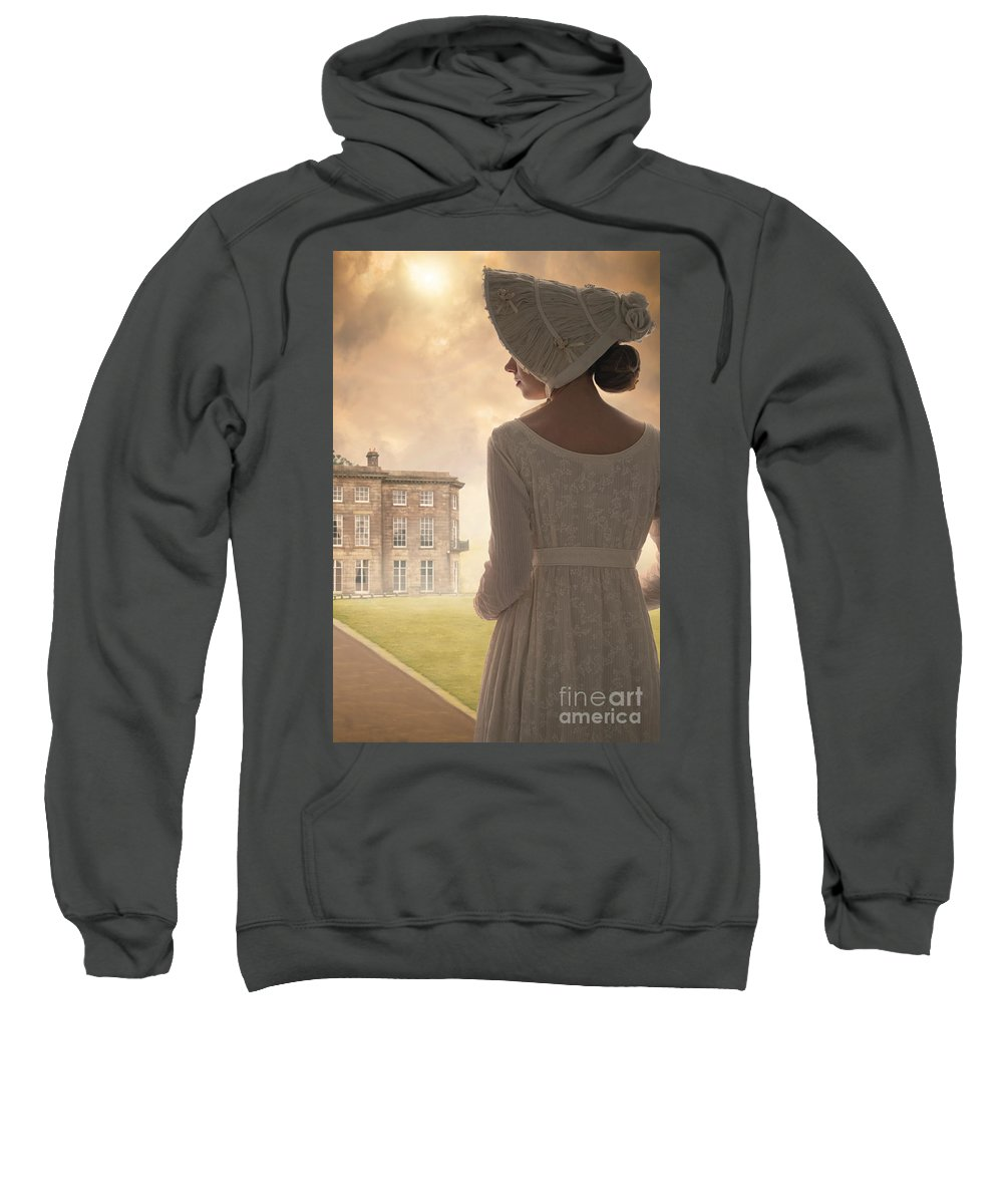 Regency Sweatshirt featuring the photograph Regency Period Woman With Mansion In Background by Lee Avison