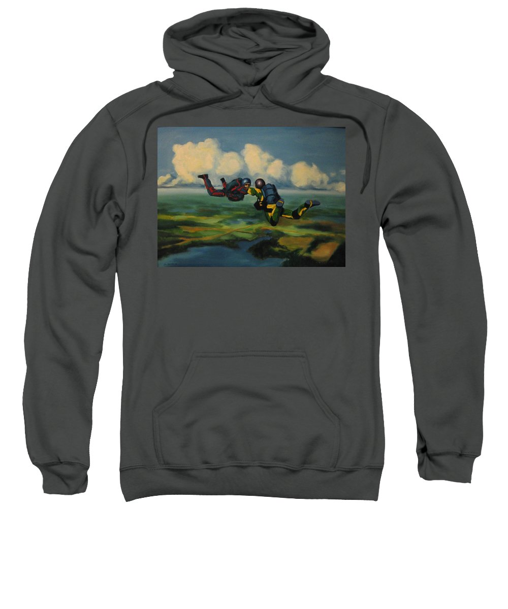 Skydivers Sweatshirt featuring the painting Relative Work by John Malone