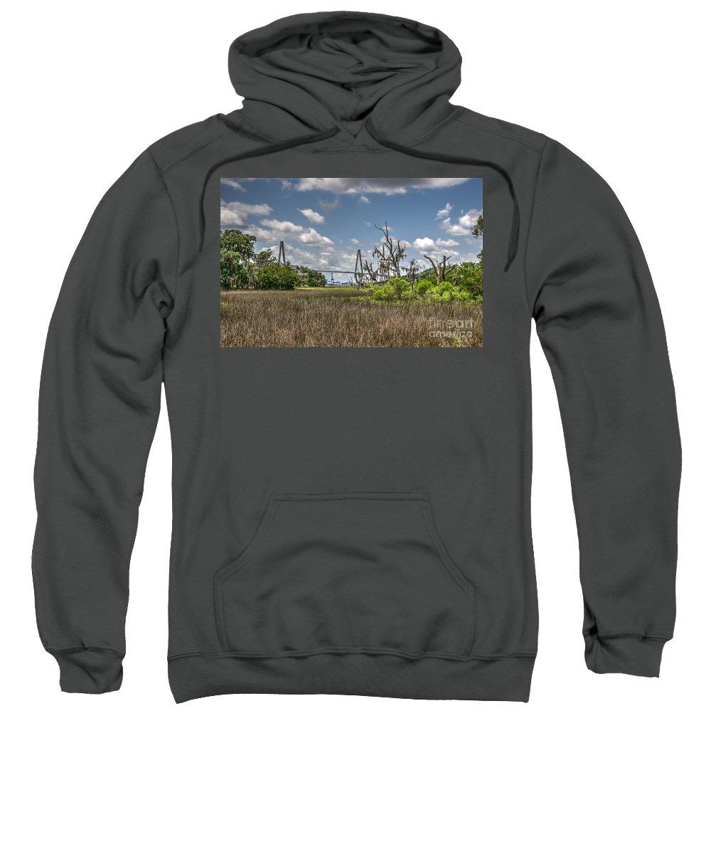 Arthur Ravenel Jr. Bridge Sweatshirt featuring the photograph Remleys Point Bridge View by Dale Powell