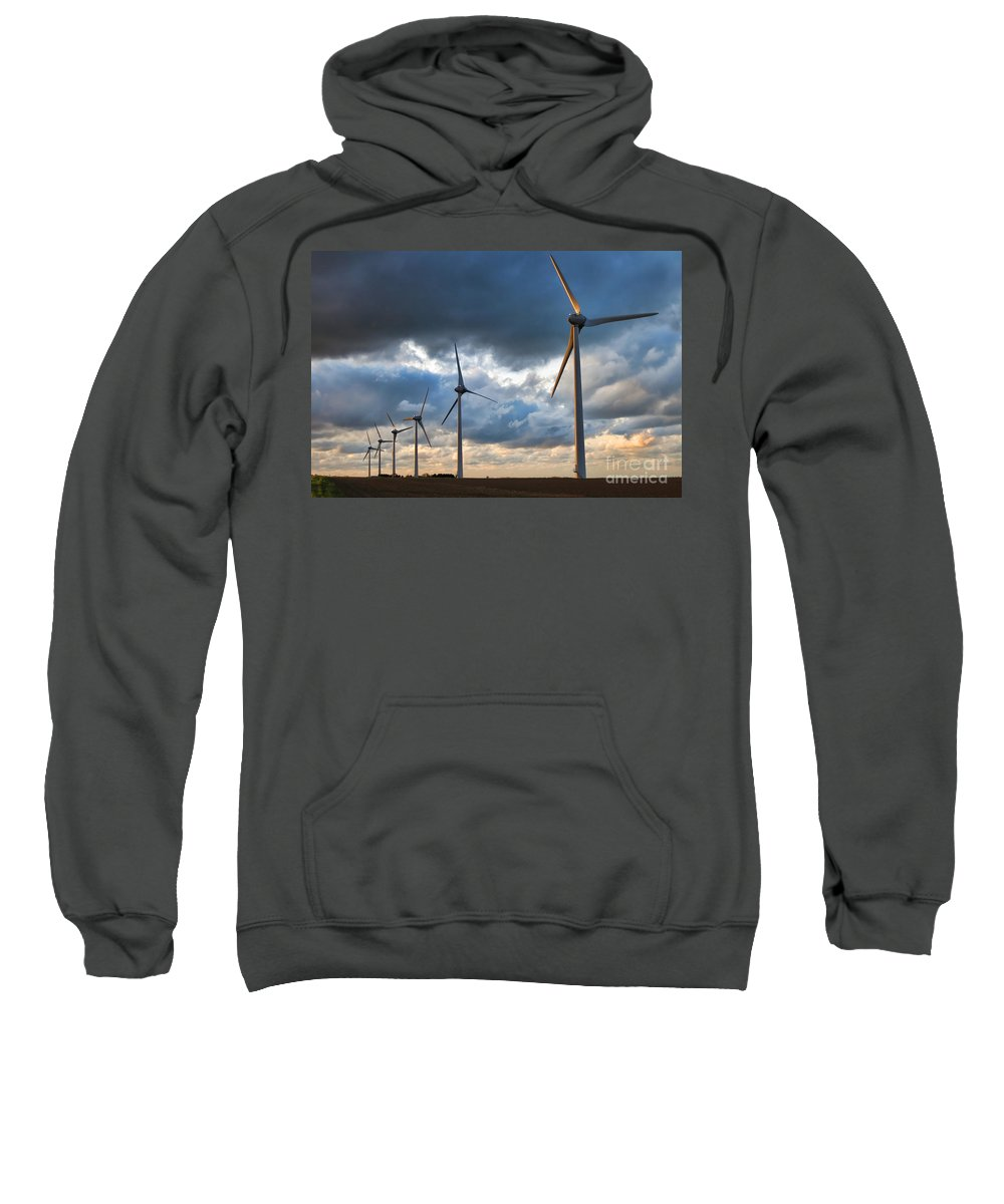 Windmill Sweatshirt featuring the photograph Renewable Energy by Olivier Le Queinec