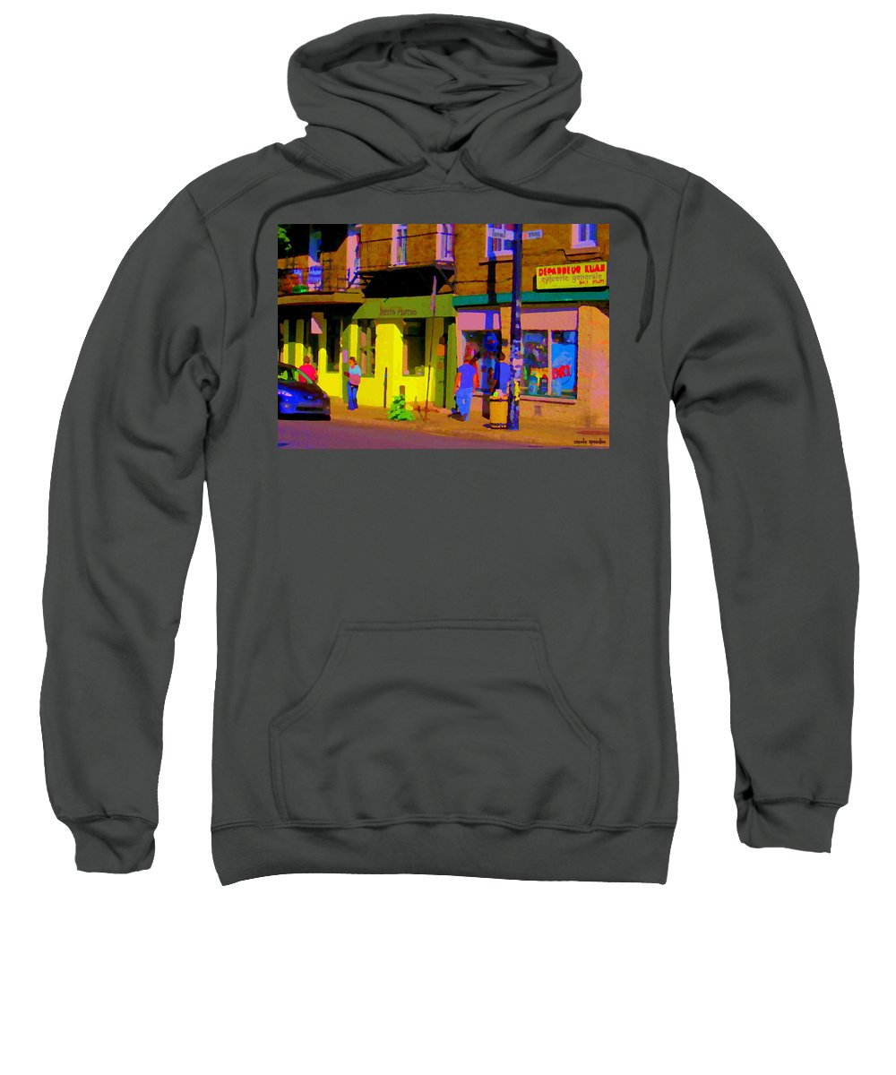 Montreal Sweatshirt featuring the painting Restaurant El Pintxo Rue Roy Plateau Montreal Basque Food Spanish Cafe City Scene Art Carole Spandau by Carole Spandau