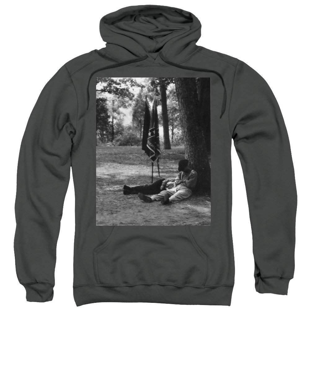 Black And White Sweatshirt featuring the photograph Resting At Gettysburg by Eric Liller