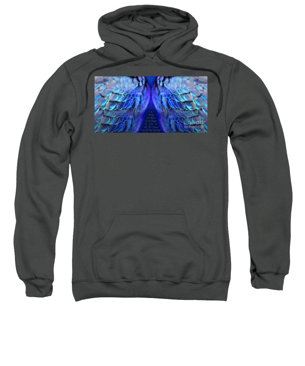 Wings Sweatshirt featuring the digital art Psalm 91 Wings by Constance Woods