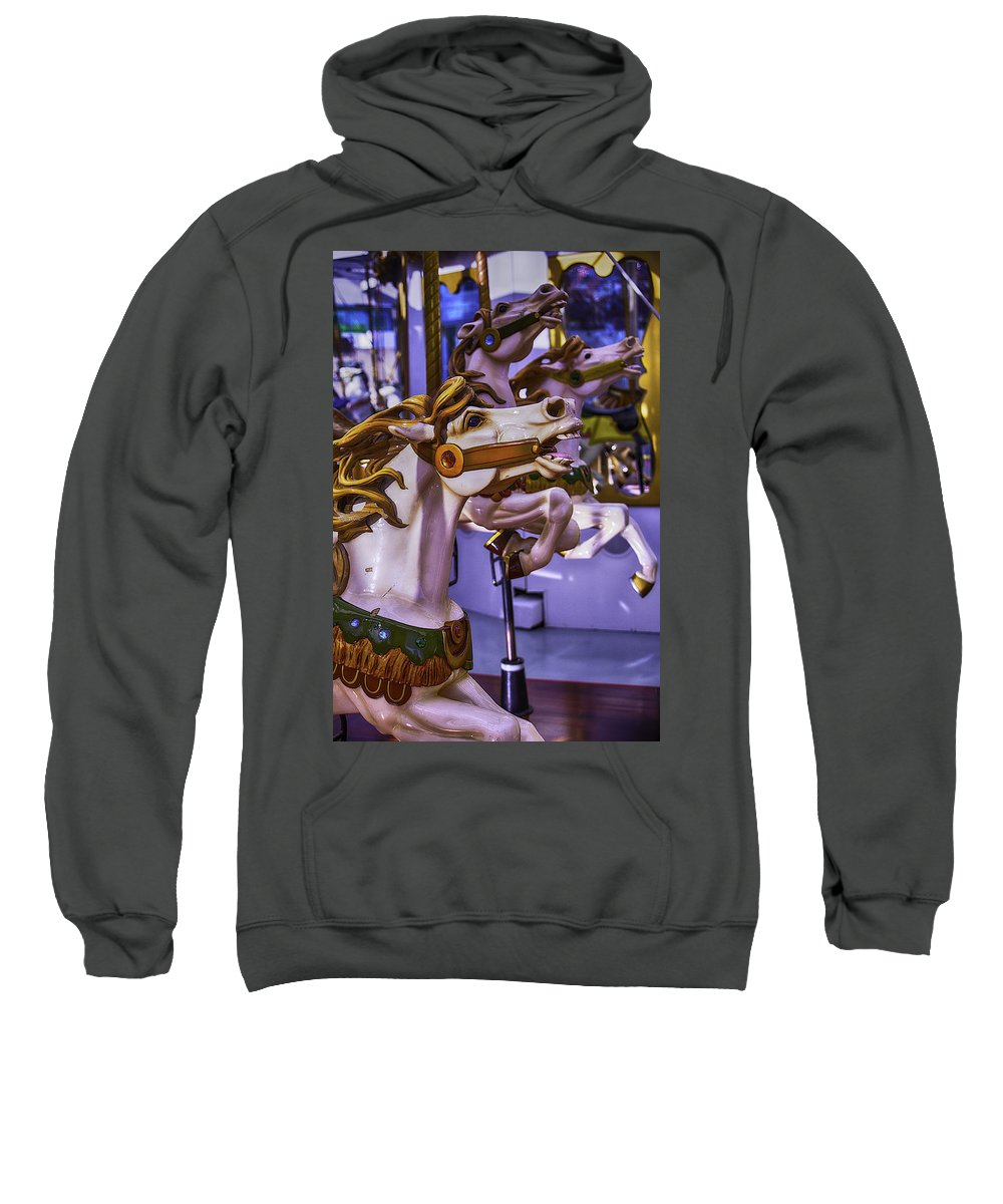 Magical Carousels Sweatshirt featuring the photograph Ride The Wild Carrousel Horses by Garry Gay