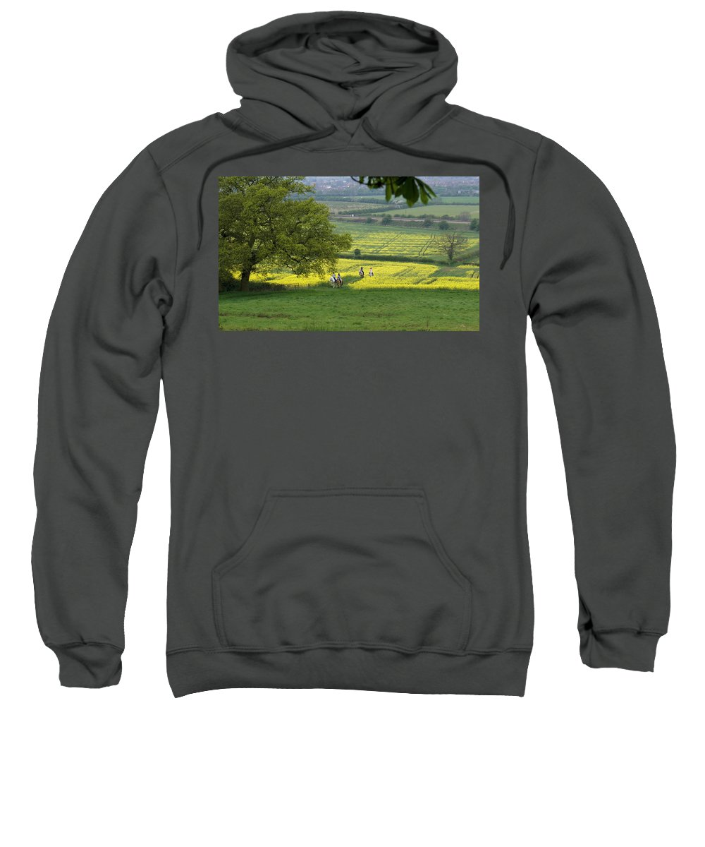 Horse Sweatshirt featuring the photograph Riding On Chosen Hill by Ron Harpham