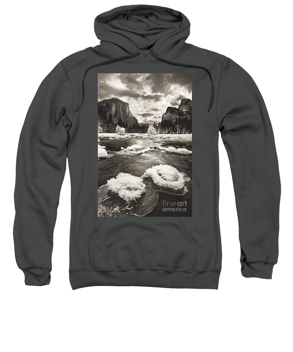 North America Sweatshirt featuring the photograph Rime Ice On The Merced In Black And White by Dave Welling