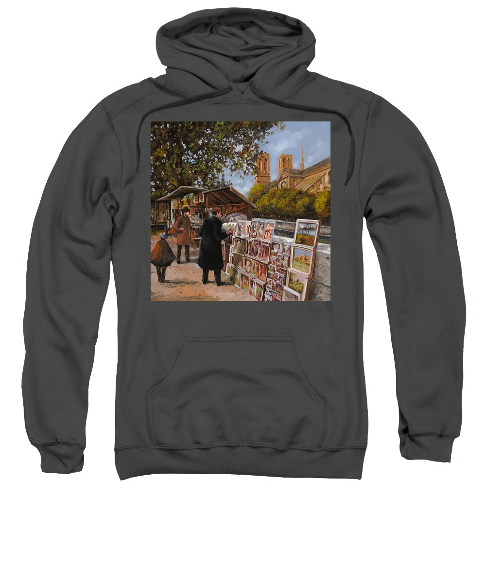 Paris Sweatshirt featuring the painting Rive Gouche by Guido Borelli