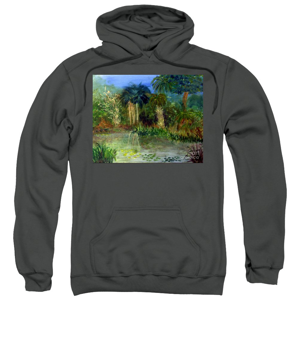 Blue Sweatshirt featuring the painting River At Riverbend Park In Jupiter Florida by Donna Walsh