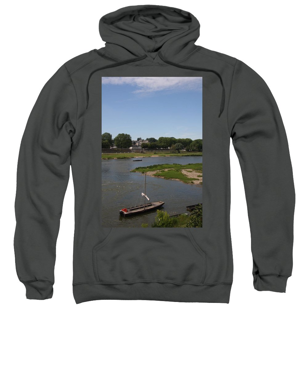Boat Sweatshirt featuring the photograph River Loire Fishing Boat by Christiane Schulze Art And Photography