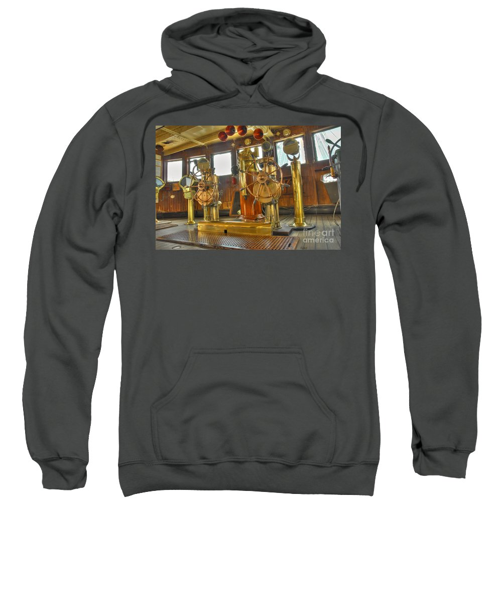 Bridge Sweatshirt featuring the photograph Rms Queen Mary Bridge Well-polished Brass Annunciator Controls And Steering Wheels by David Zanzinger