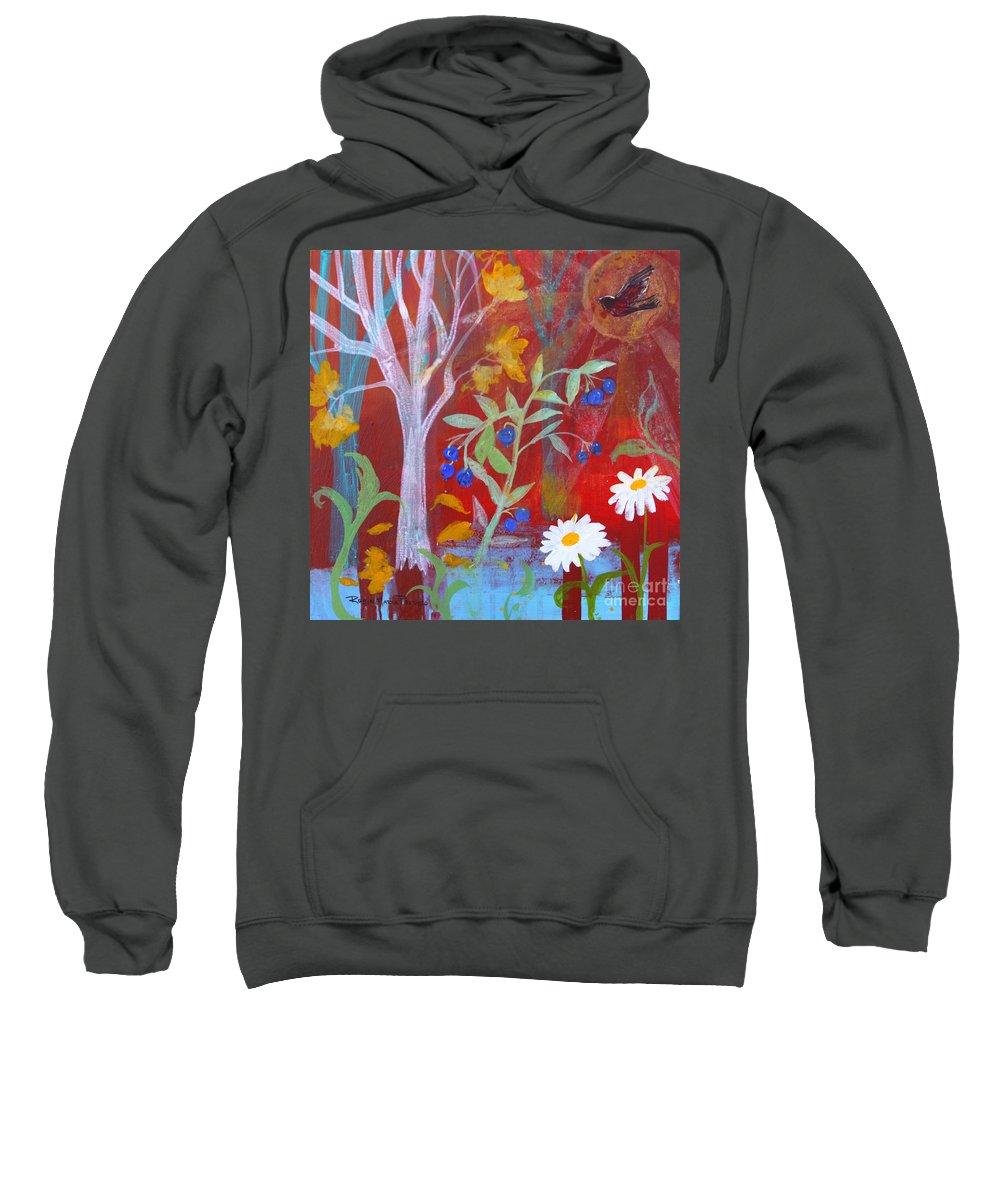 Robin Sweatshirt featuring the painting Robin's Blueberry Daisy Sunshiny Day by Robin Maria Pedrero