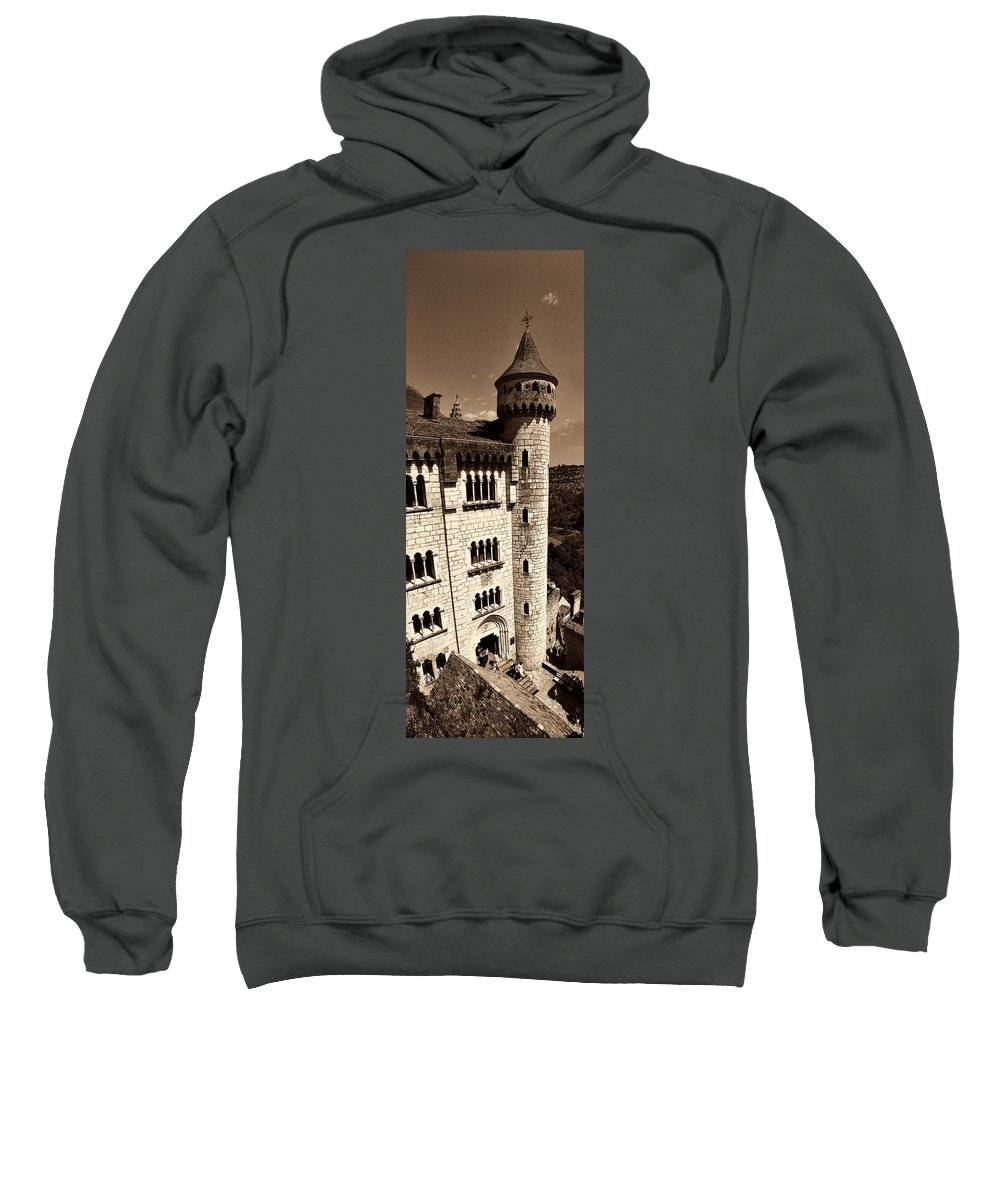 Rocamadour Sweatshirt featuring the photograph Rocamadour Stone Tower Vertical Panorama Sepia by Weston Westmoreland