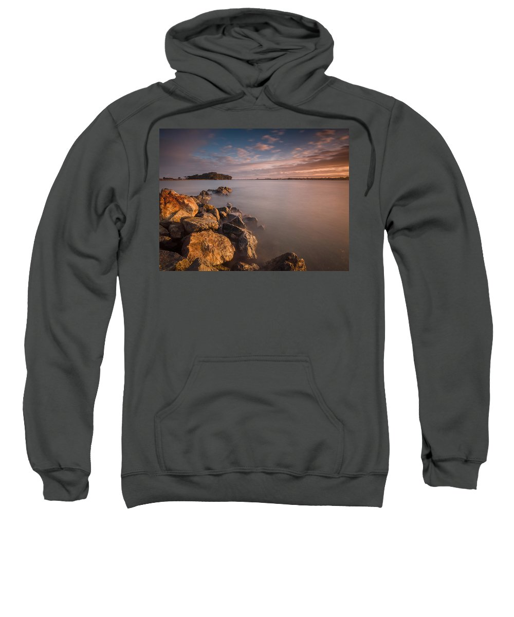 Dawn Sweatshirt featuring the photograph Rock Peninsula In Humboldt Bay by Greg Nyquist