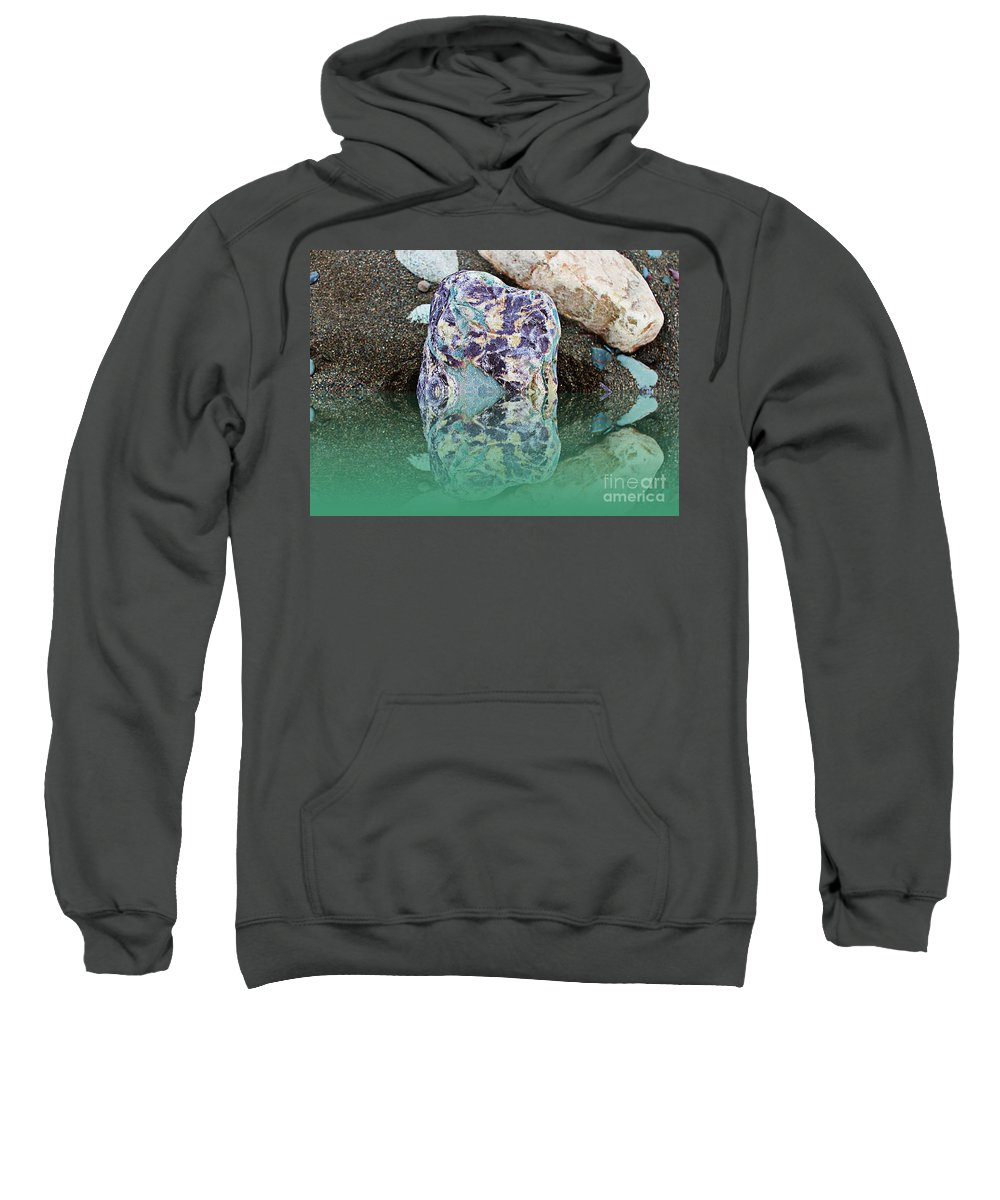 Rock Reflections Sweatshirt featuring the photograph Rock Reflections - Water - Beach by Barbara Griffin