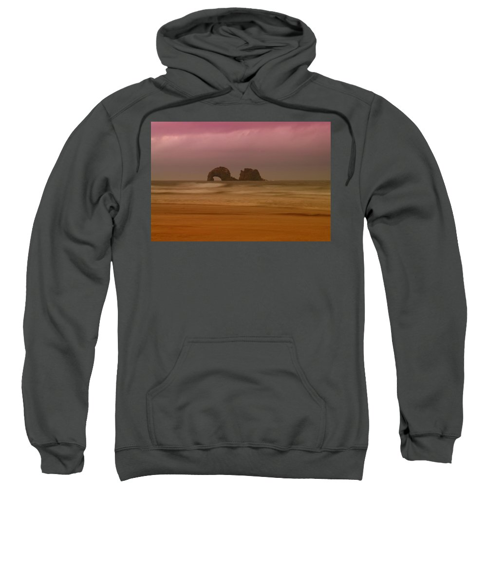 Ocean Sweatshirt featuring the photograph Rockaway Beach Oregon Coast by Jeff Swan