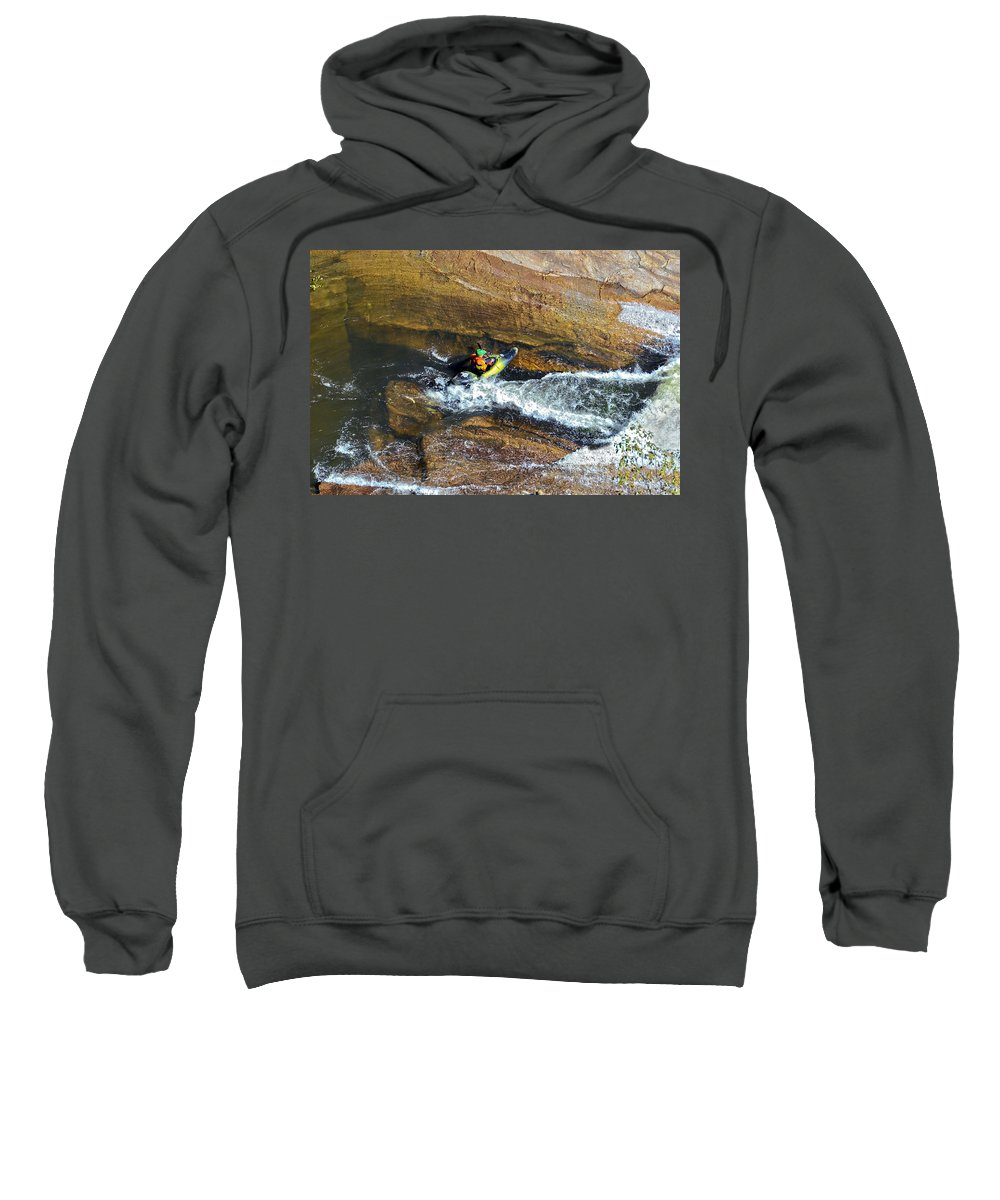 Man Sweatshirt featuring the photograph Rocks And Rapids by Susan Leggett