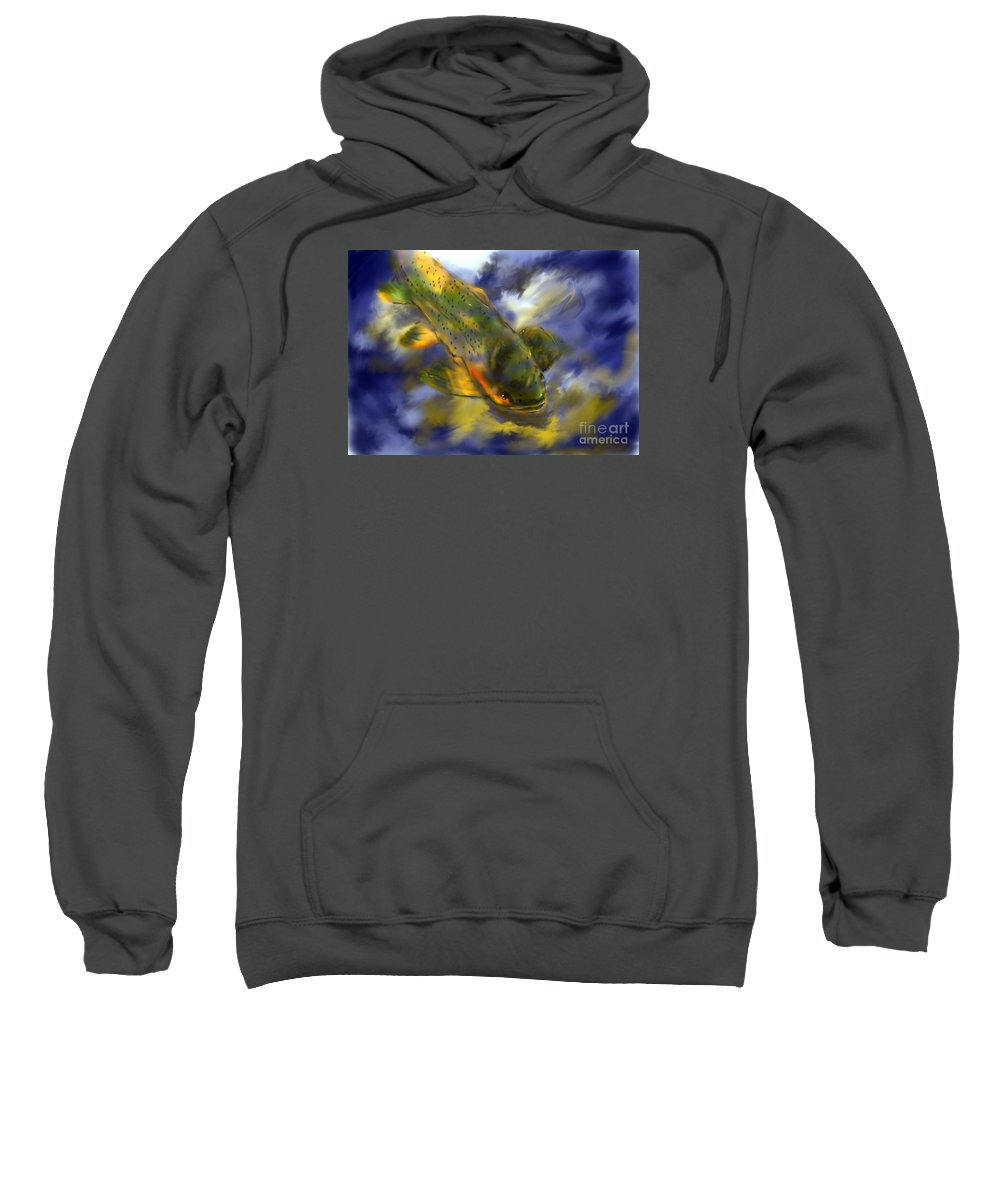 Fish Sweatshirt featuring the pastel Rocky Mountain Trout by Jim Fronapfel