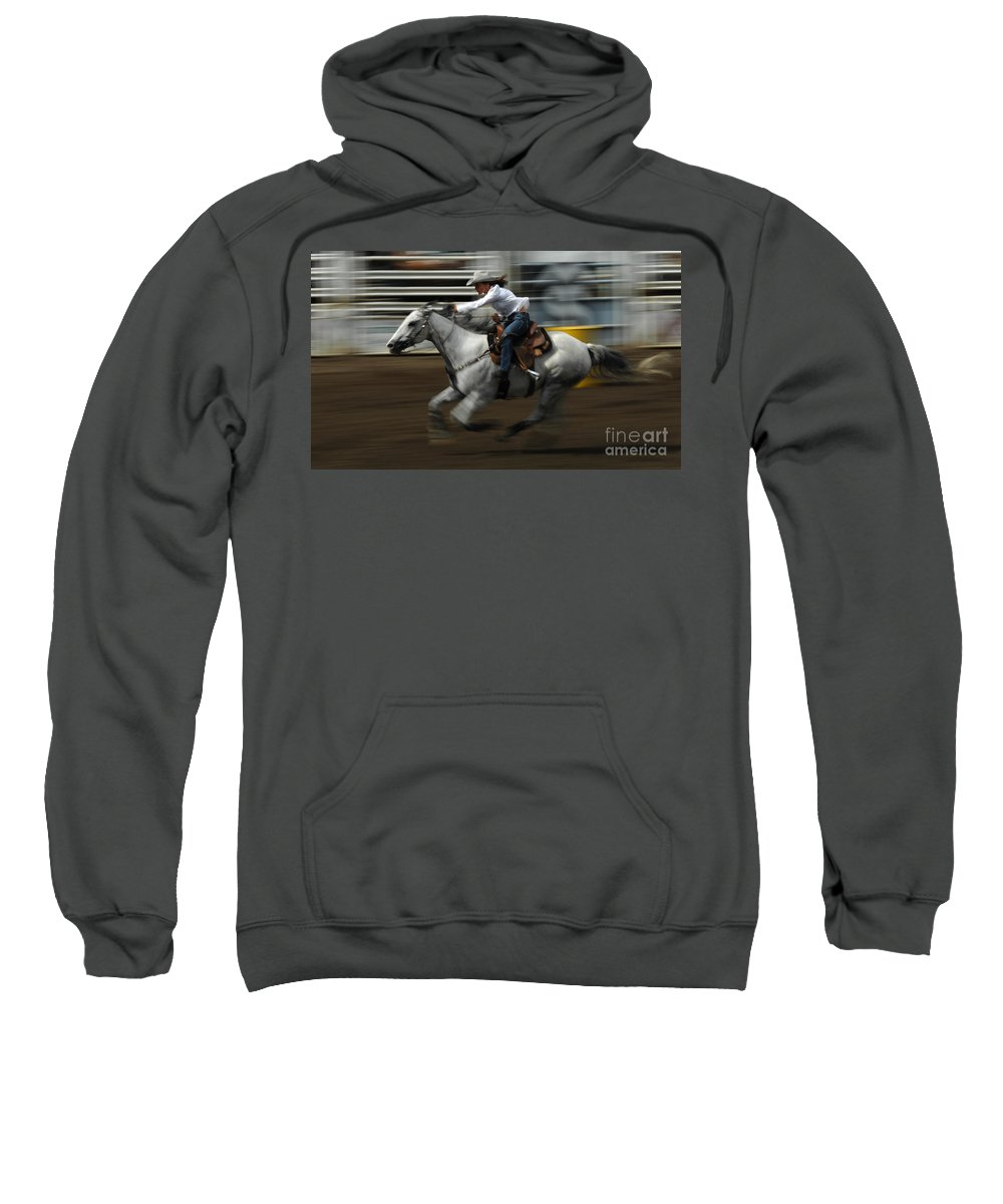 Horse Sweatshirt featuring the photograph Rodeo Riding A Hurricane 1 by Bob Christopher