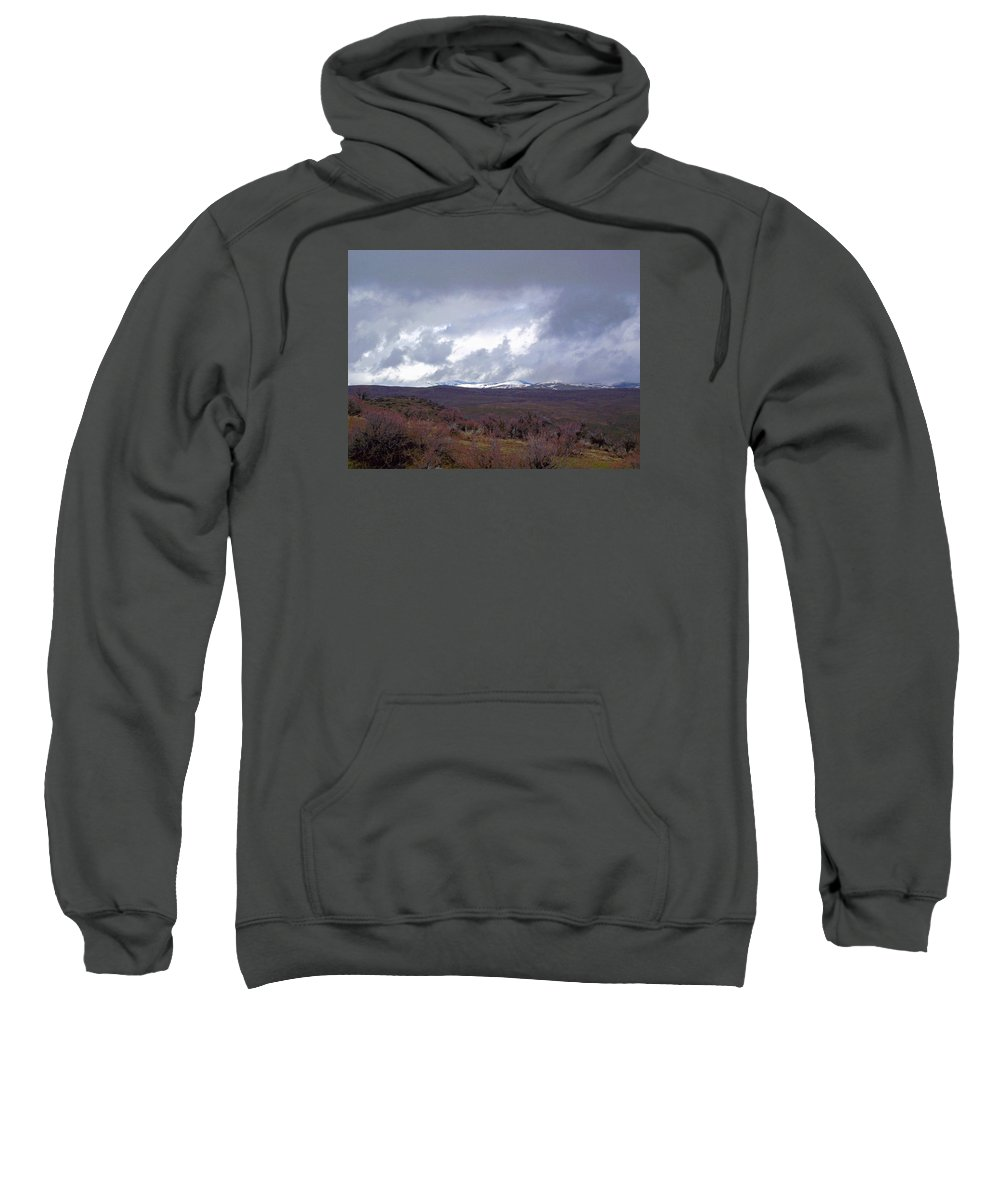 Landscape Sweatshirt featuring the photograph Rolling Clouds- Rolling Hills by Mike and Sharon Mathews