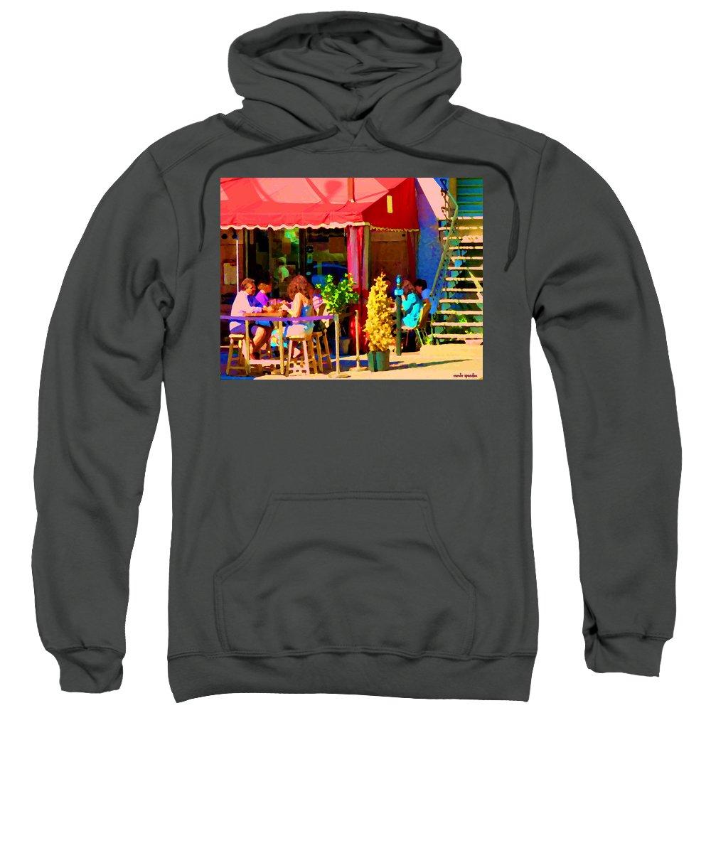 Montreal Sweatshirt featuring the painting Romantic Terrace Dinner Date Piazzetta Bistro Rue St Denis French Cafe Street Scene Carole Spandau by Carole Spandau