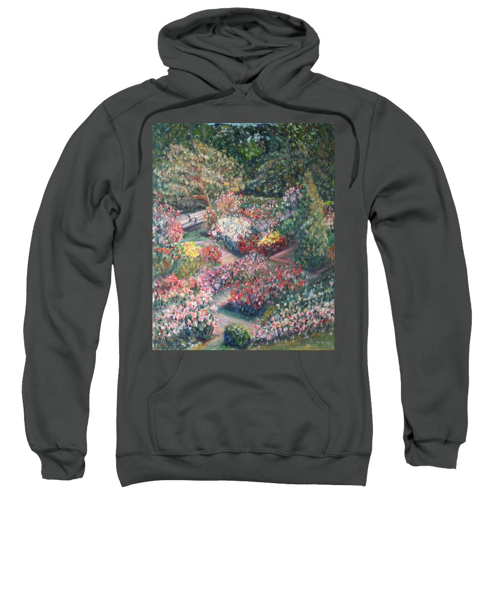 Impressionist Landscape Sweatshirt featuring the painting Rose Garden by Quin Sweetman