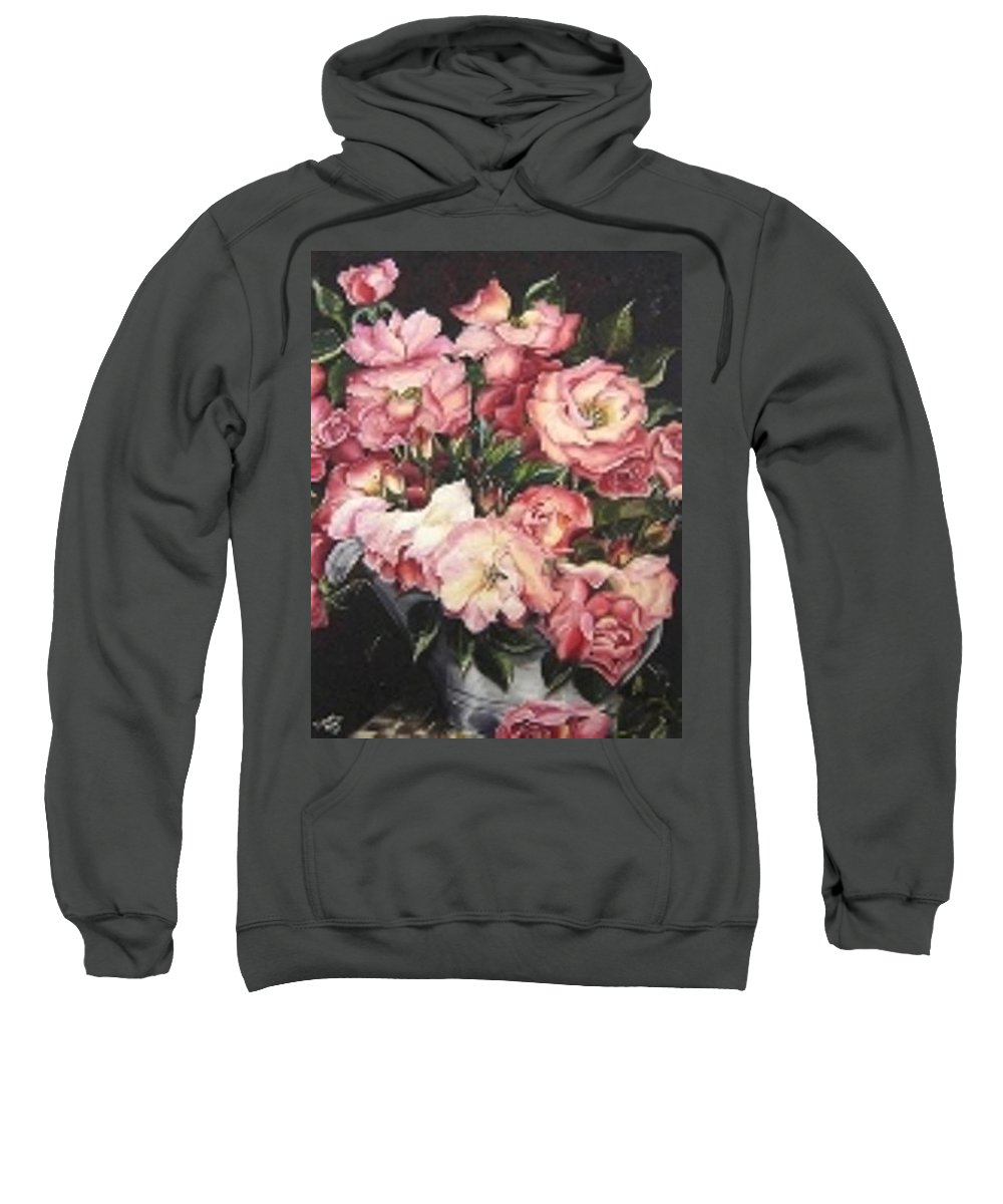 Pink Roses Floral Flowers Sweatshirt featuring the painting Roses In A Watercan by Karin Dawn Kelshall- Best