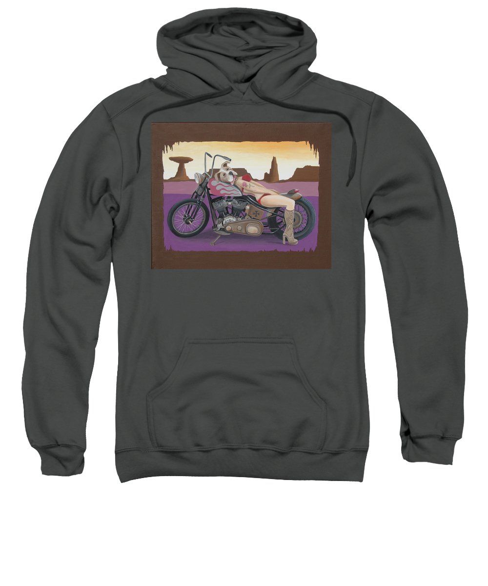 Motorcycle Sweatshirt featuring the painting Rosie The Pitbull Pinup by Stuart Swartz