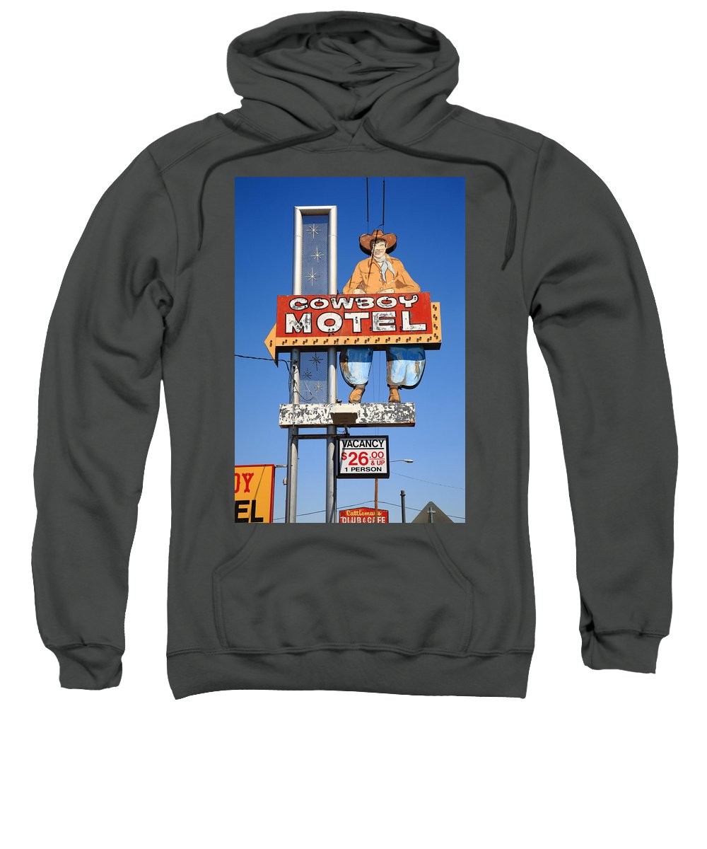 66 Sweatshirt featuring the photograph Route 66 - Cowboy Motel by Frank Romeo