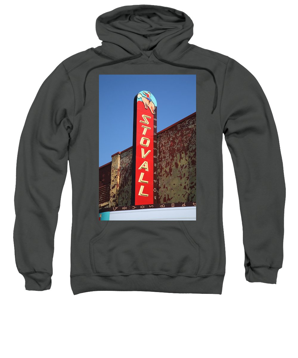 66 Sweatshirt featuring the photograph Route 66 - Stovall Theater by Frank Romeo