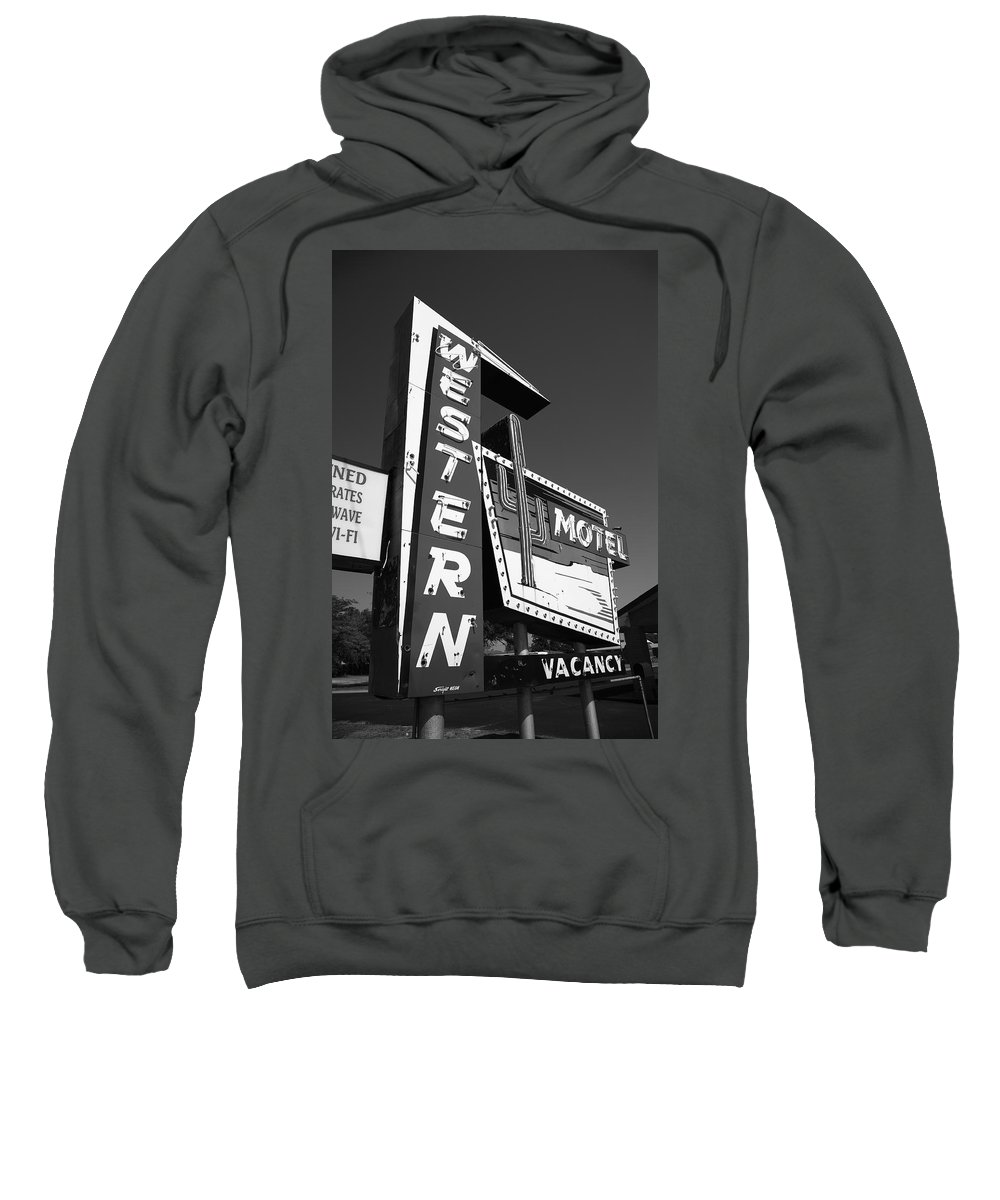 66 Sweatshirt featuring the photograph Route 66 - Western Motel 7 by Frank Romeo