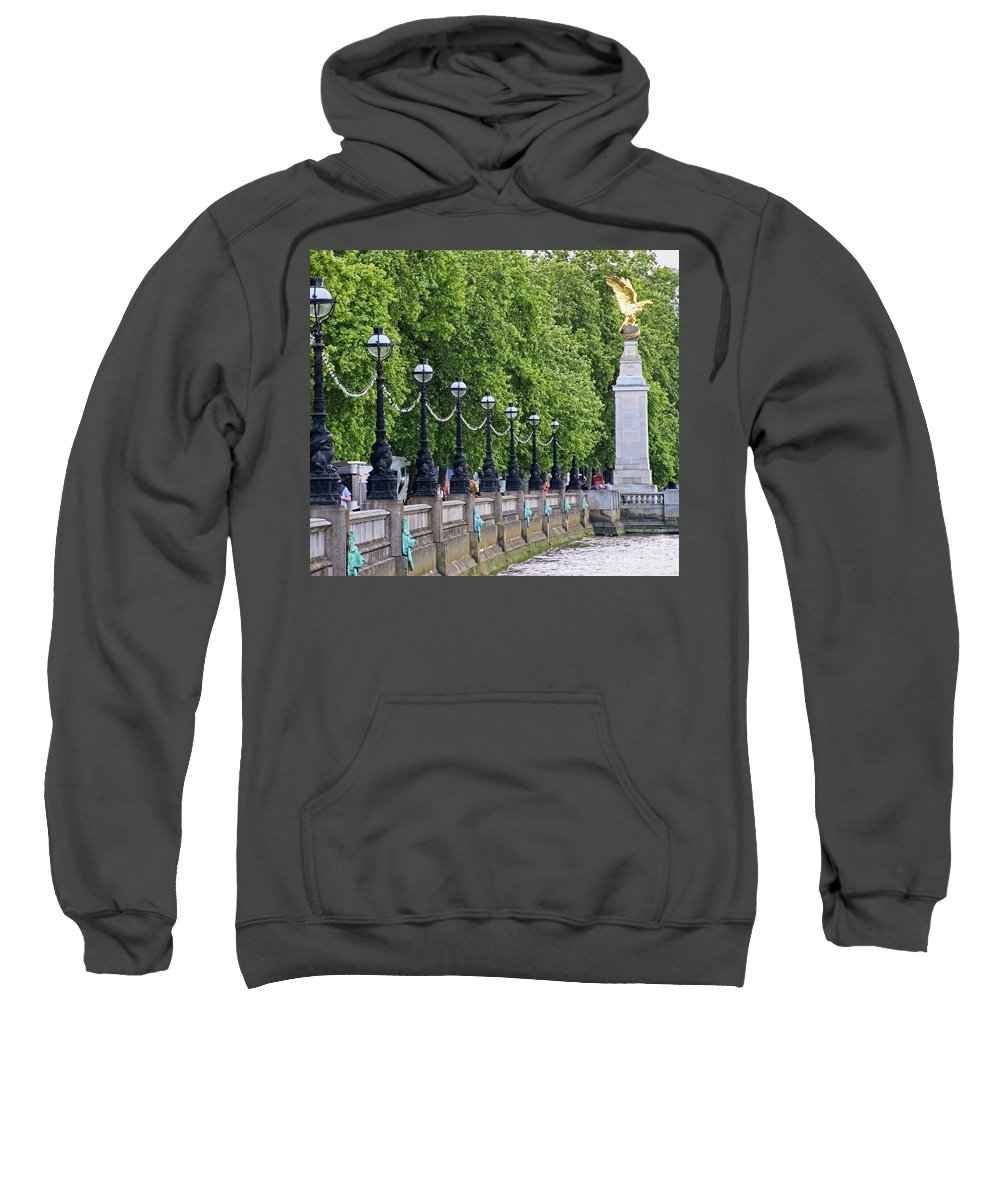 Royal Air Force Memorial Sweatshirt featuring the photograph Royal Air Force Memorial By The River Thames 5801 by Jack Schultz