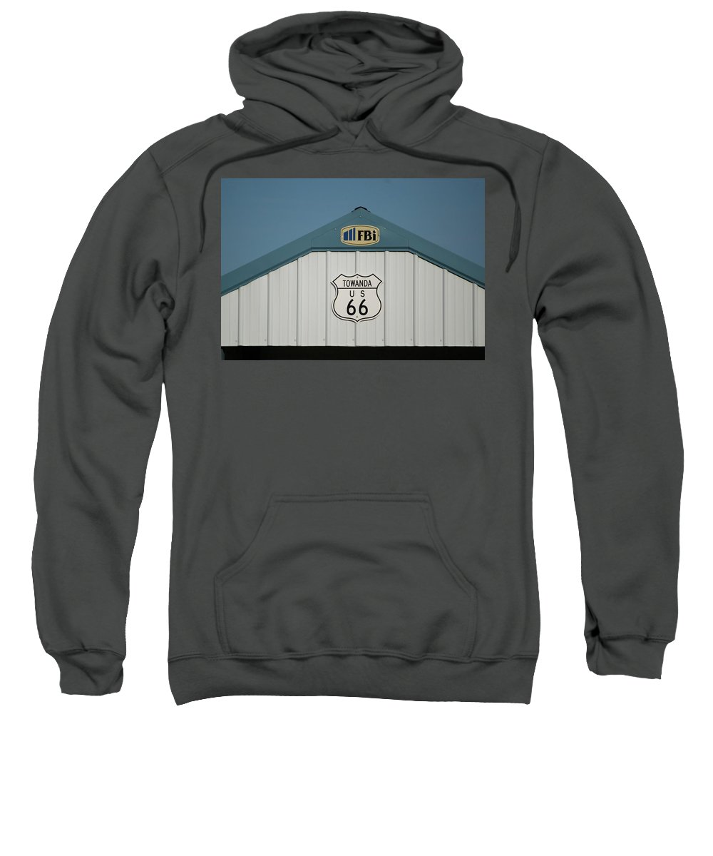Mother Road Sweatshirt featuring the photograph Rt 66 Towanda Plague by Thomas Woolworth