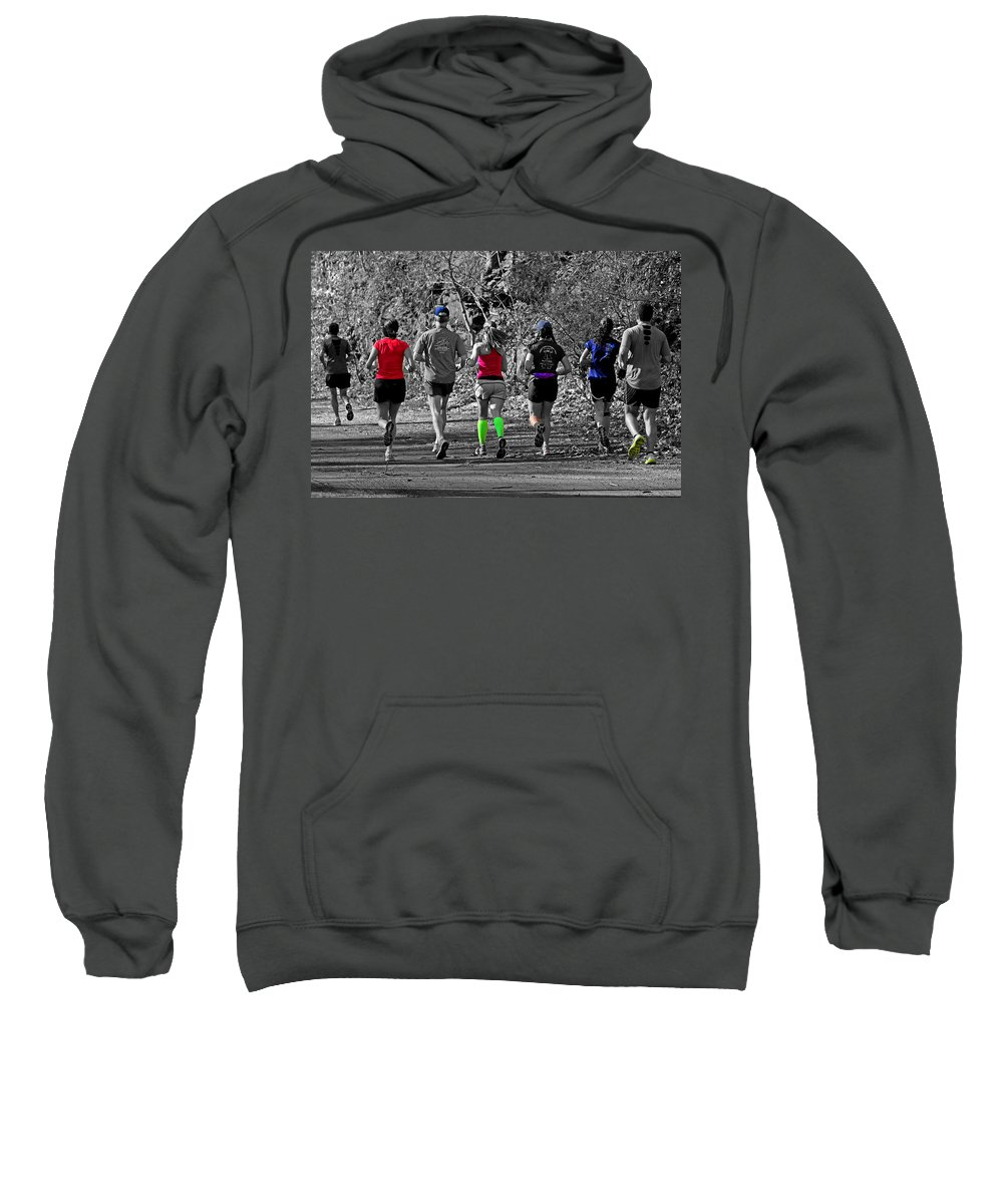Joggers Sweatshirt featuring the photograph Run In The Park by Tom Gari Gallery-Three-Photography