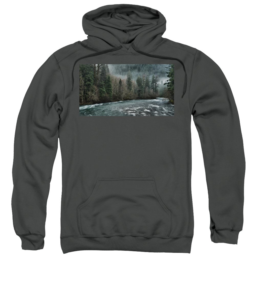 Mckenzie River Sweatshirt featuring the photograph Rushing Mckenzie River by Don Schwartz