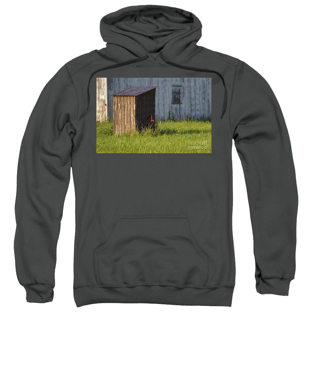 Backgrounds Sweatshirt featuring the photograph Rustic Pump House 20140718 by Alan Look
