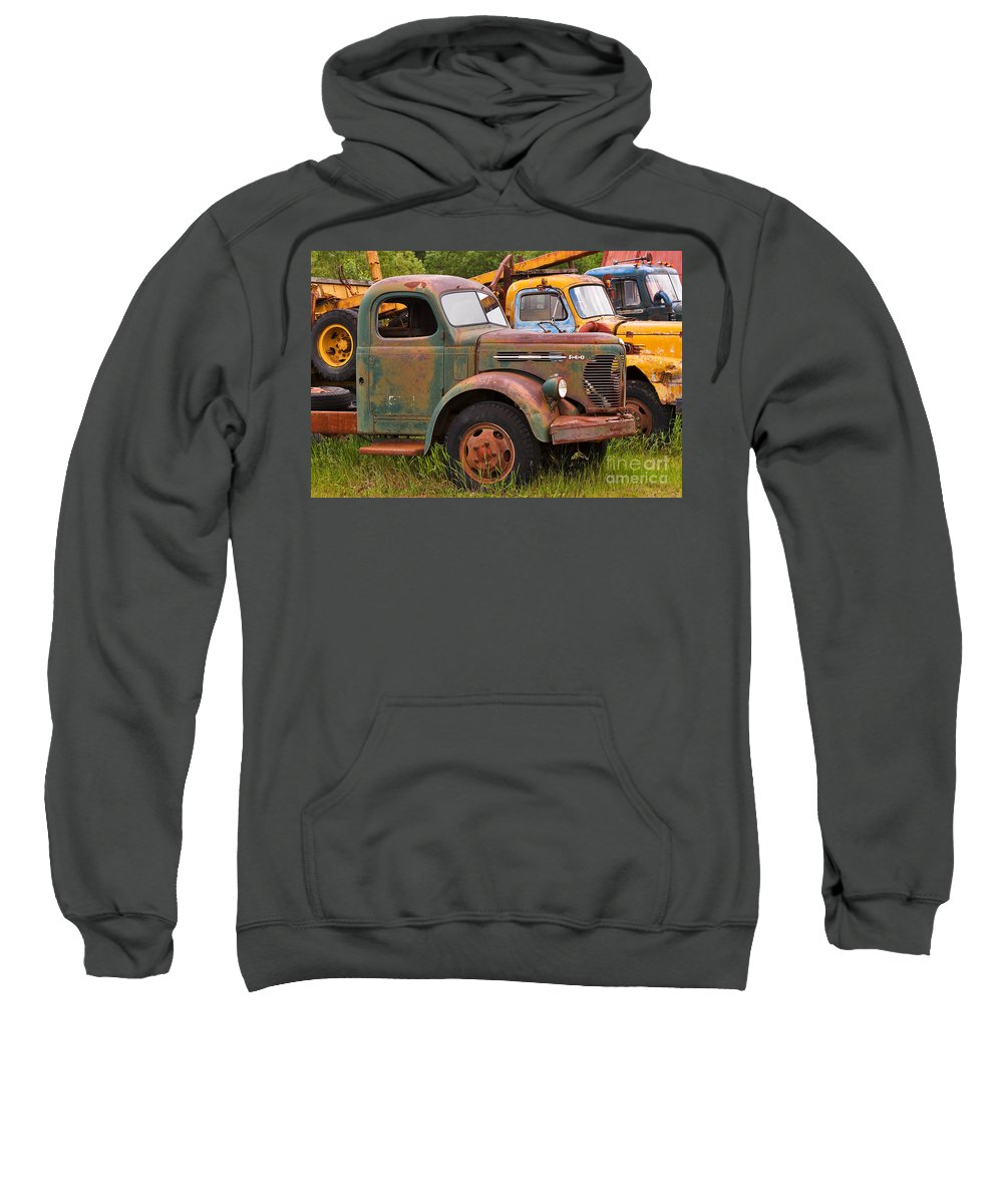 Truck Sweatshirt featuring the photograph Rusty Old Trucks by Louise Heusinkveld