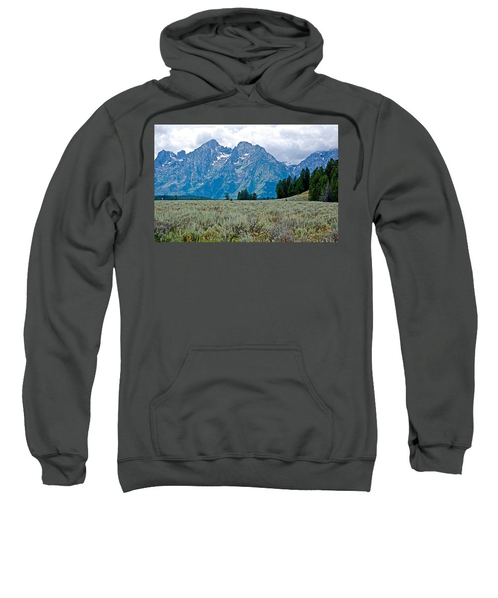 Sagebrush Flatland And Teton Peaks Near Jenny Lake In Grand Teton National Park Sweatshirt featuring the photograph Sagebrush Flatland And Teton Peaks Near Jenny Lake In Grand Teton National Park-wyoming- by Ruth Hager