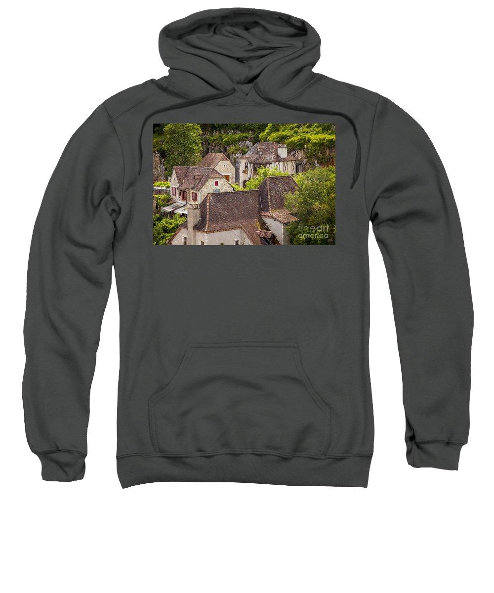 Buildings Sweatshirt featuring the photograph Saint Cirq Rooftops by Brian Jannsen