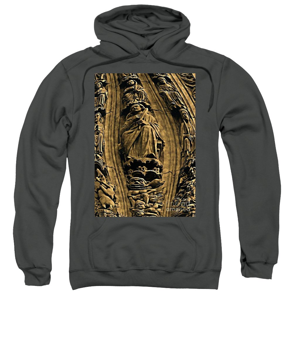 Statues Sweatshirt featuring the painting Saints And Demons by John Malone