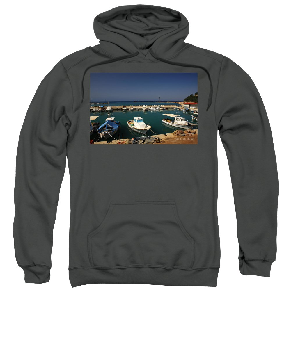 Blue Sweatshirt featuring the photograph Sami Harbour Kefalonia by Deborah Benbrook